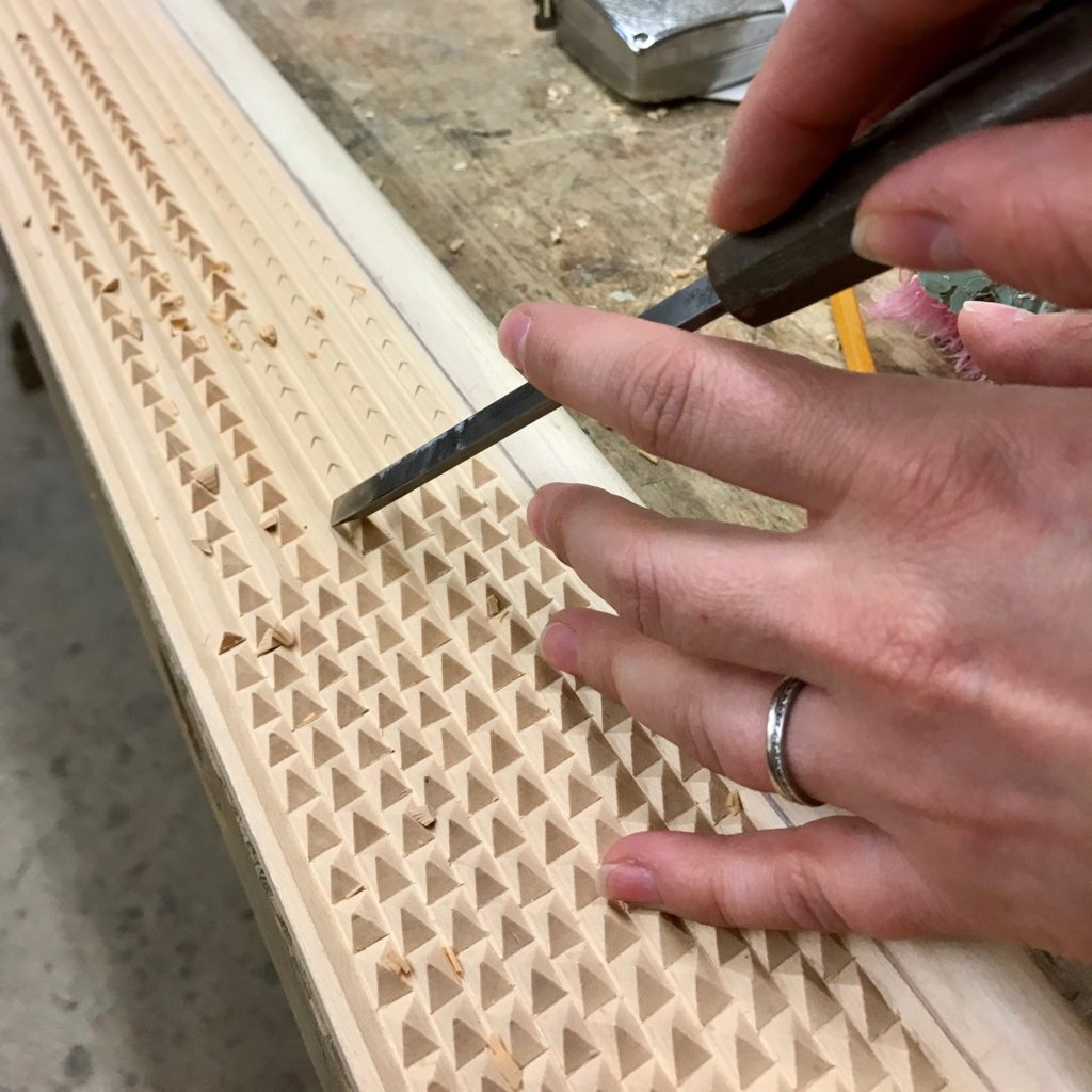 extremely fine carving on a frame that will be ebonized and used for a large mirror
